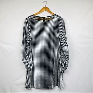Tibi Gingham Long Sleeve Dress Black & White
